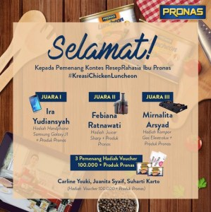 6 Pemenang Kreasi Ibu Pronas Chicken Luncheon