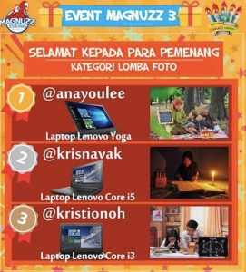 14 Pemenang Event Magnuzz 3 (Lomba Foto & Top Spender)