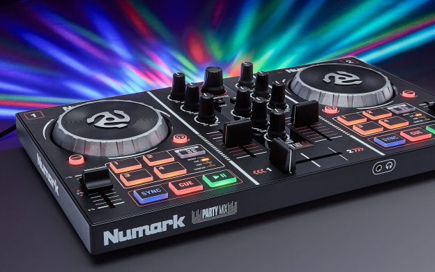 Party Mix DJ Controller with Built In Light Show   Numark You need Flash Player 8 or above
