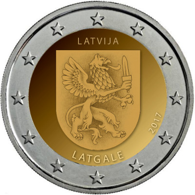 Estas son las dos monedas de 2€ cc Letonia 2017 Lat
