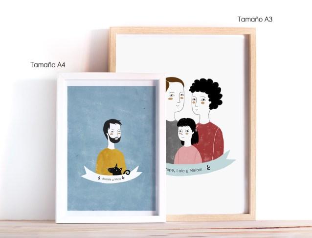 Tamaños disponibles para las ilustraciones personalizadas: A4 y A3