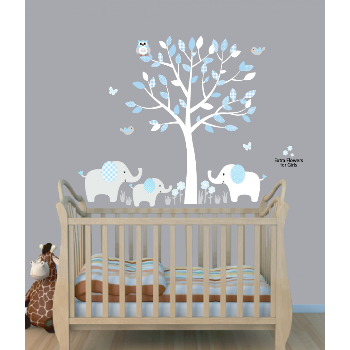 Manly Nursery Nursery Wall Decals Nz Nursery Wall Decals Animals Blue Nursery Jungle Wall Decals Elephant Stickers Elephant Wall Decal Boys Rooms Baby Blue Tree Wall Decals houzz-03 Nursery Wall Decals