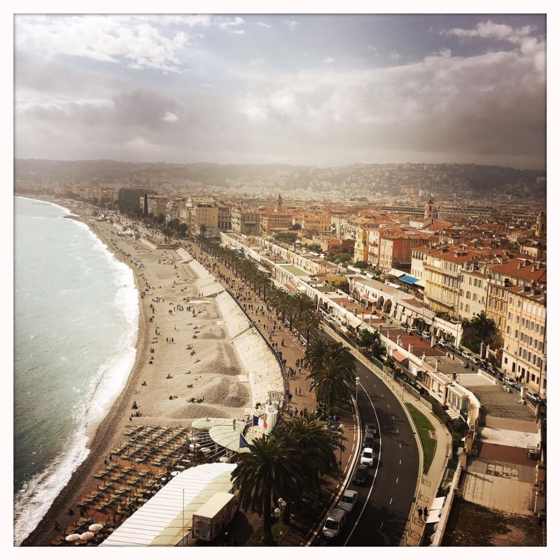 A view of the Promenade des Anglais as we walked up the hill to Parc du Chateau (Castle Park) on our first afternoon.