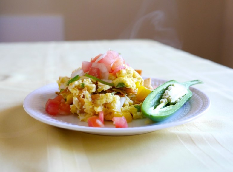 Migas (eggs with corn tortillas)
