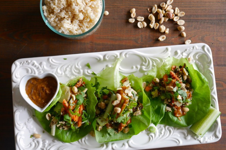 Vegetarian Lettuce Wraps with Amazing Peanut Sauce | The Nutty ...
