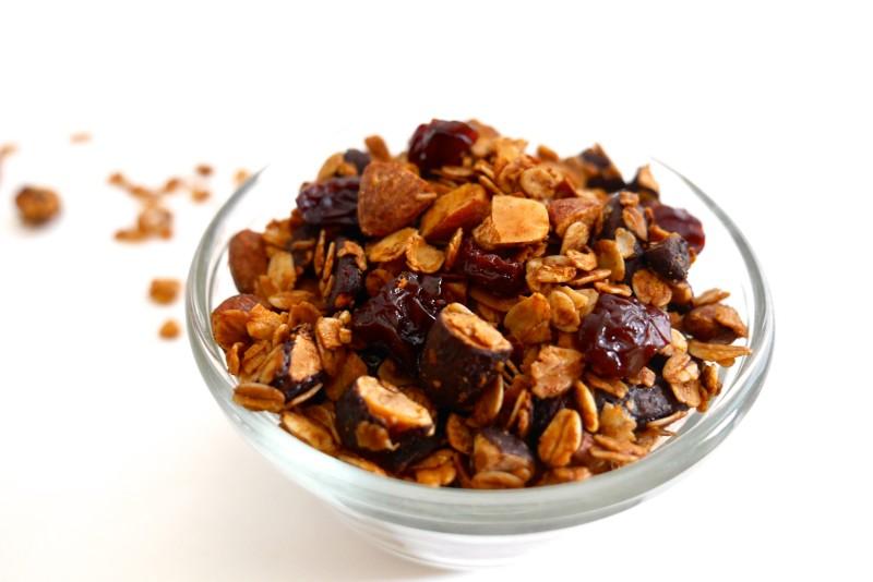 Chocolate Almond Granola www.nuttynutritionandfitness.com