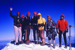 1966 photo of Mazamas on the summit of Pico de Orizaba at 18, 491 feet above sea level, the third highest mountain in North America and the second most prominent volcano in the world after Mt. Kilimanjaro in Africa. Half the earth's atmosphere lies below these climbers. The author is fifth from the right.