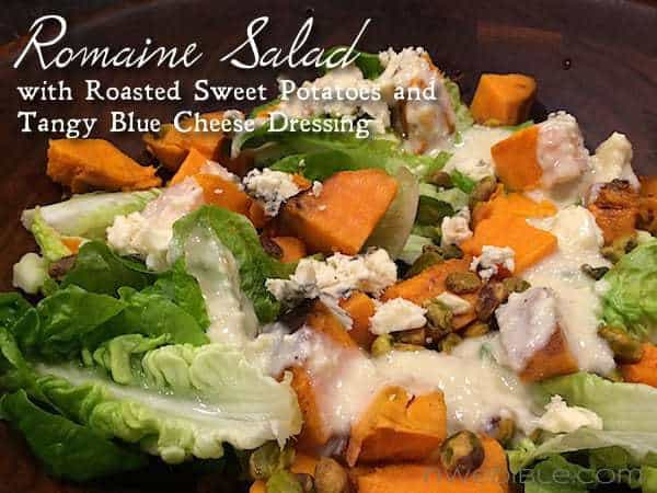 Romaine Salad with Sweet Potatoes and Tangy Blue Cheese Dressing