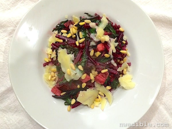 Beet Greens with Bacon, Lemon and White Cheddar