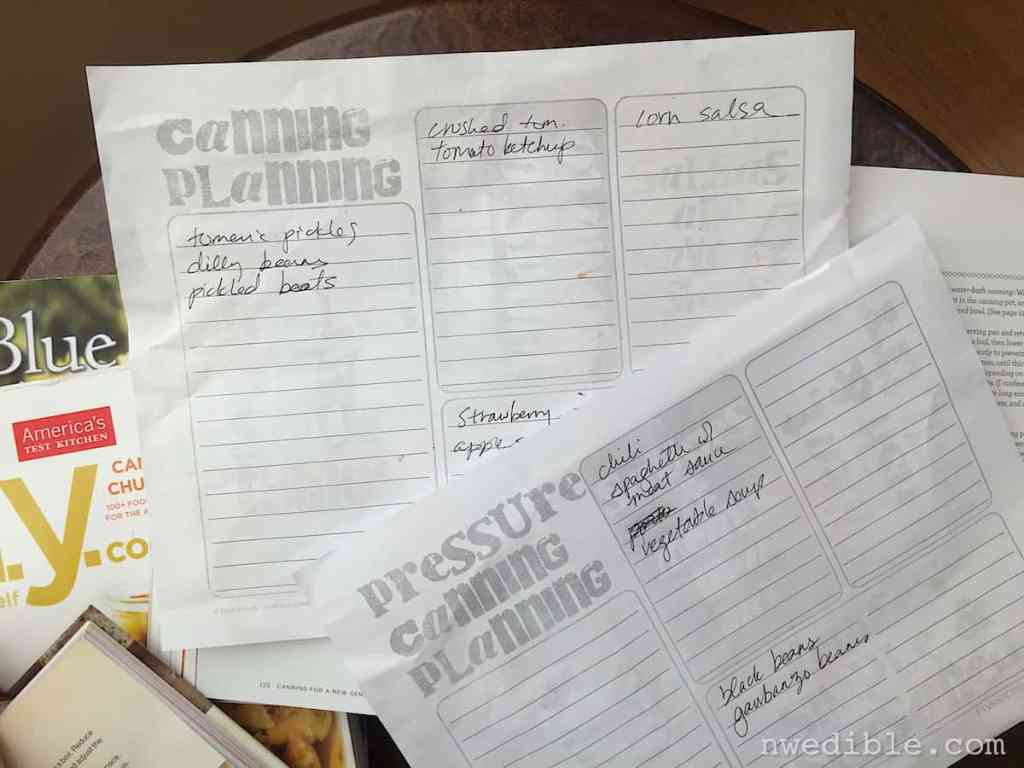 Canning Planning Sheets