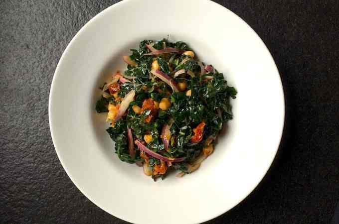 Kale & Chickpea Salad with Slow-Roasted Tomatoes