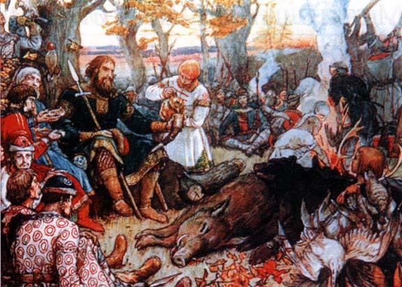 Виктор Васнецов. Отдых великого князя Владимира Мономаха после охоты. 1848 год