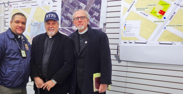 On their way to the funerals, Chaplains Hector Figueroa, Rick Del Rio & Bill Devlin stop at the HQ for the investigation into the East Harlem Explosion. Photo: A Journey through NYC religions