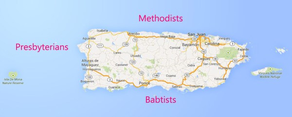 Map of mission territories in Puerto Rico: Methodists around Arecibo, Babtists around Ponce and Presbyterians in West.