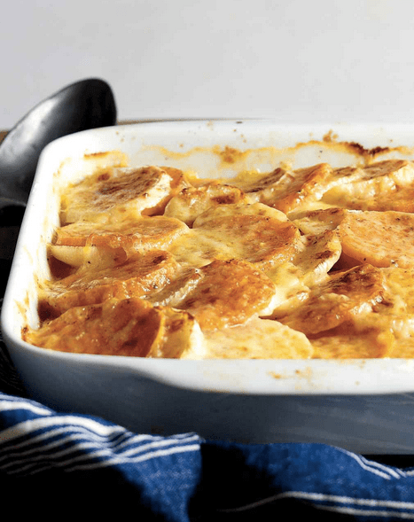 Turnip and Sweet Potato Au Gratin