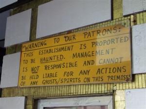 Warning Sign in Bobby Mackey's