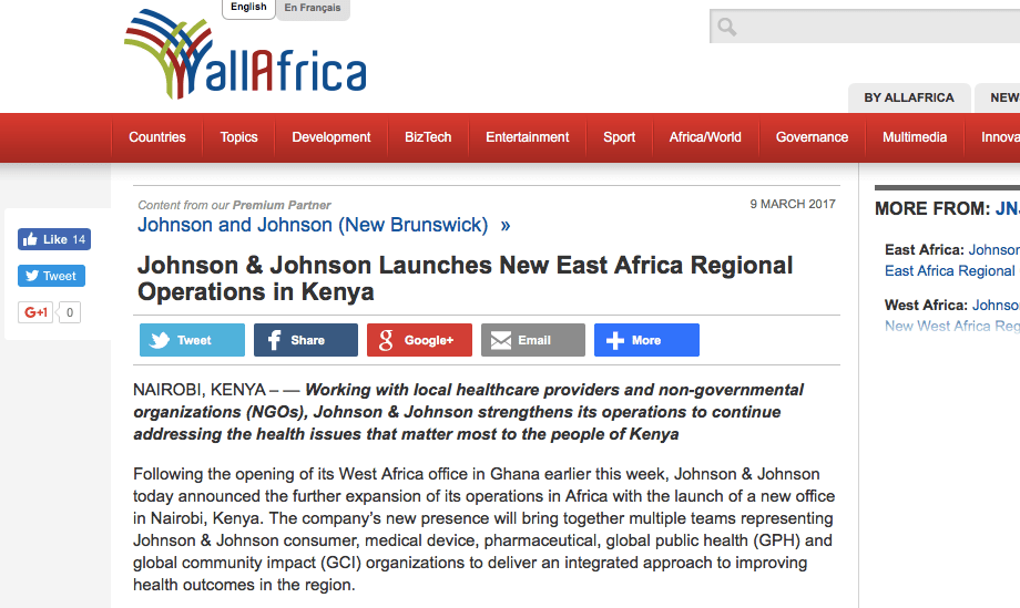 Nyumbani and Johnson & Johnson featured on allAfrica.com