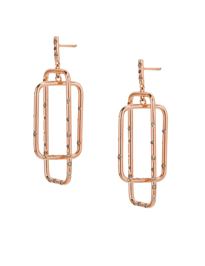 Rose Gold Mobile Drop Earrings with Champagne Diamonds