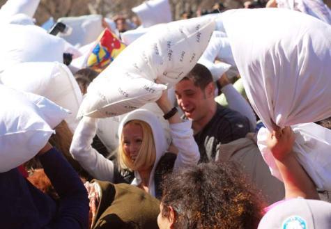 Annual pillow fight hits Washington Square Park
