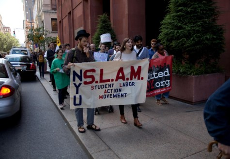 SLAM protests student debt outside Gould Welcome Center