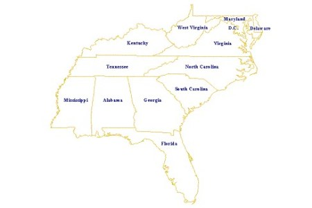 gallery for > blank southeast us map