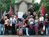 League of the South members and supporters gather in Linn Park