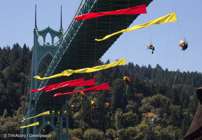 Streamers float in the wind under the St. Johns Bridge In as activists climbed under the bridge in an attempt to prevent the Shell leased icebreaker, MSV Fennica from joining the rest of Shell's Artctic drilling fleet. T According to the latest federal permit, the Fennica must be at Shell's drill site before Shell can reapply for federal approval to drill deep enough for oil in the Chukchi Sea.