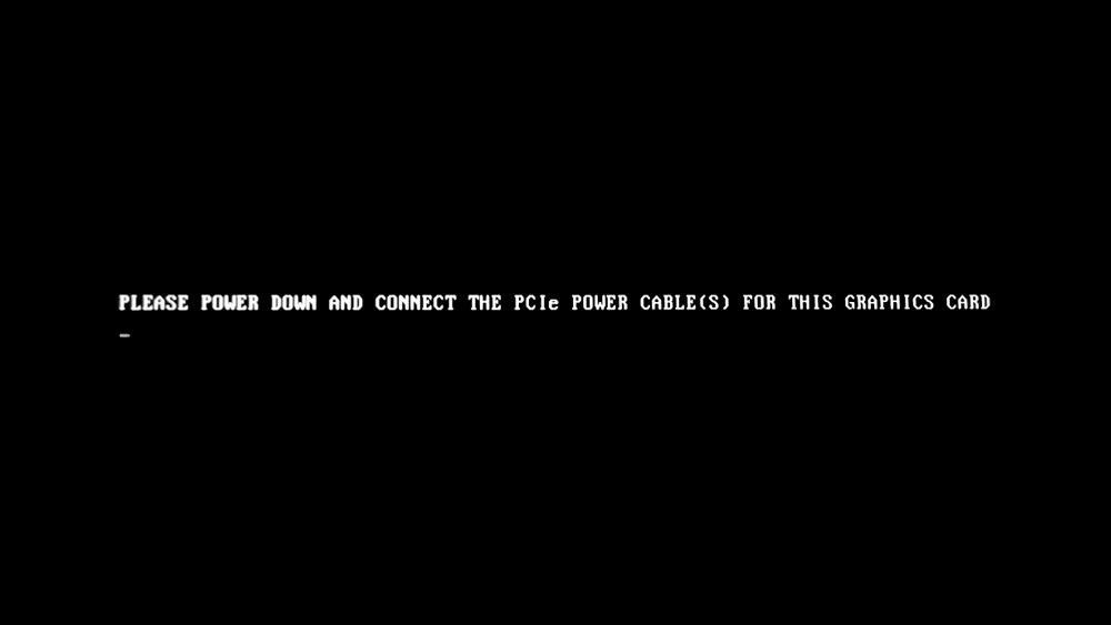 トラブル: パソコン起動時に黒画面に英語で「PLEASE POWER DOWN AND CONNECT THE PCIe POWER CABLE(S) FOR THIS GRAPHICS CARD」と表示されてパソコンが起動しないときの対処方法