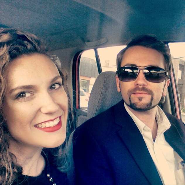 On our way to our anniversary date-night