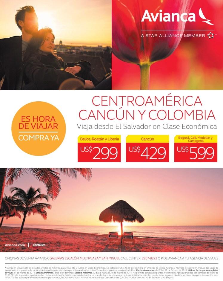 compra y viaja Centroamerica Cancun COlombia AVIANCA