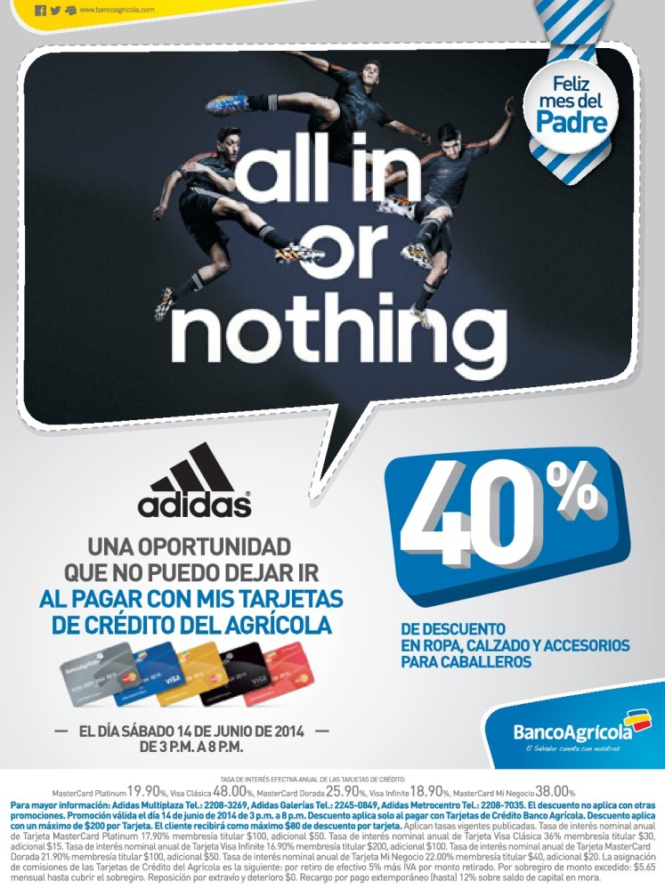 ADIDAS all in or nothing DISCOUNT banco agricola - 14jun14