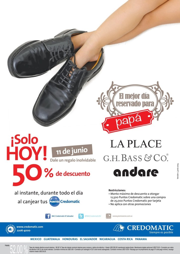 CREDOMATIC descuentos solo hoy calzado para PAPA - 11jun14