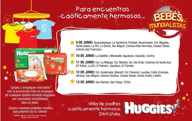 Camisetas mundialista para tu BEBE HUGGIES - 09jun14