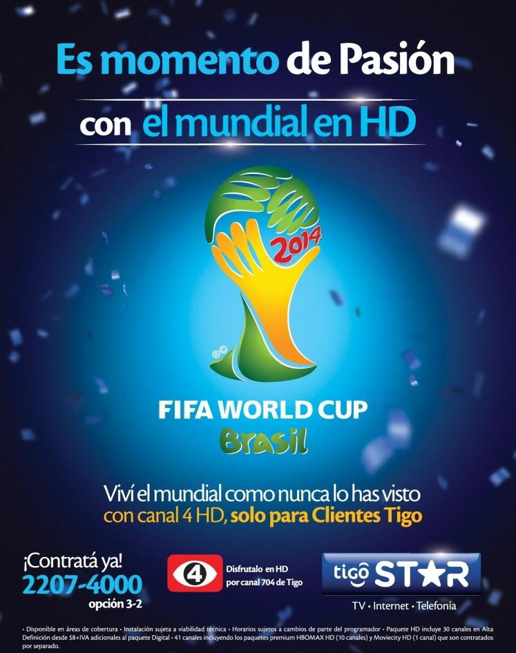 Es momento de PASION mundial brazil 2014 en HD gracias a TIGO Star