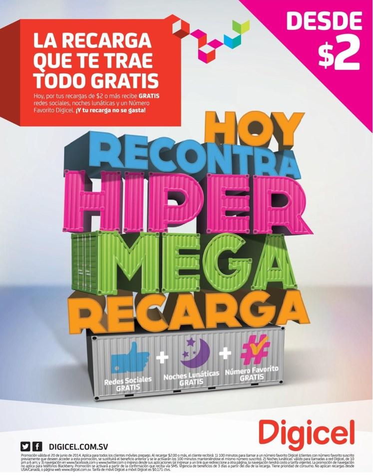 Este viernes recontra HYPER MEGA recarga DIGICEL el salvador - 20jun14