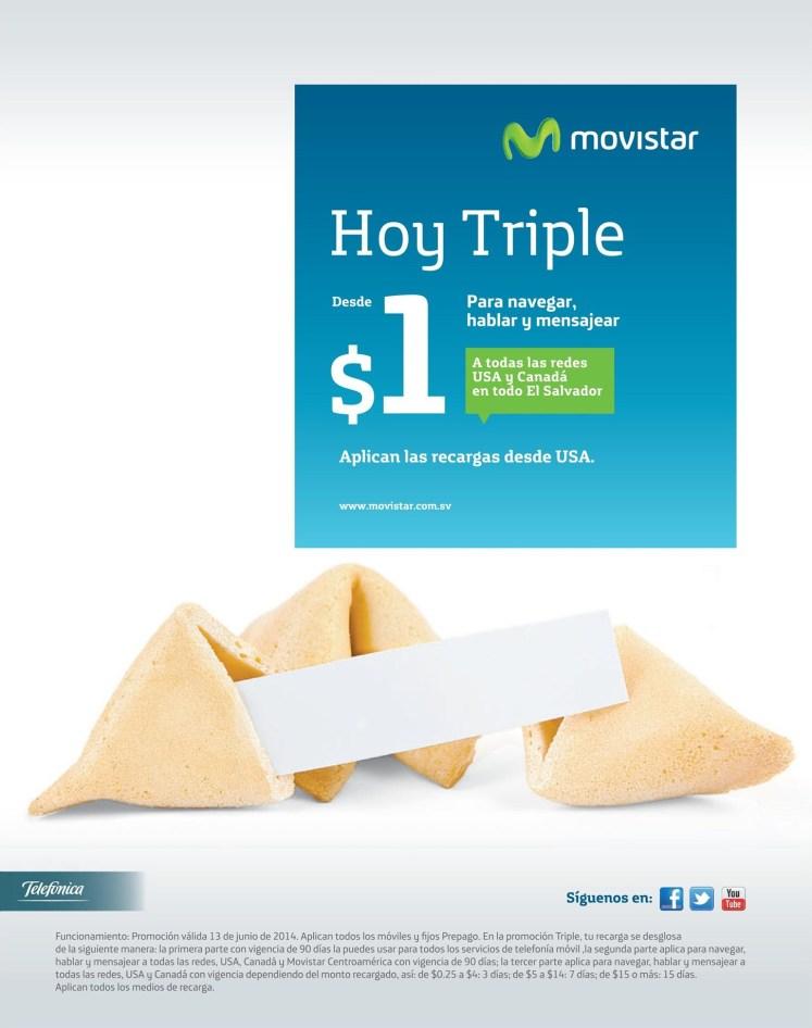 HOY hay triple saldo MOVISTAR el salvador - 13jun14