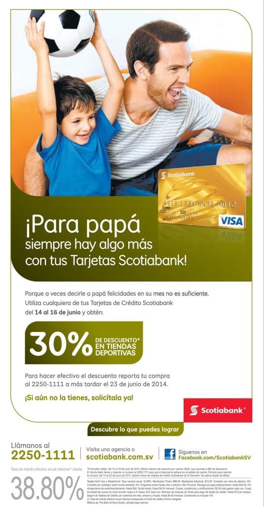 Tarjestas de credito SCOTIA BANK descuentos en tiendas deportivas - 13jun14