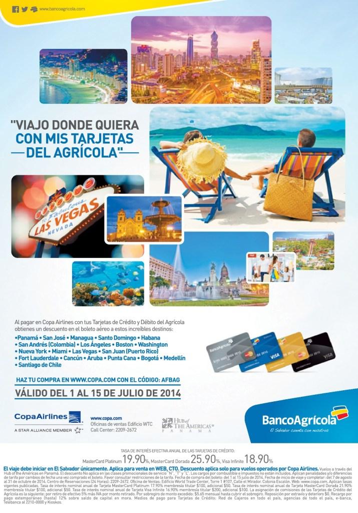 Descuento en boleto aeros COPA AIRLINES tarjetas banco agricola - 02jul14