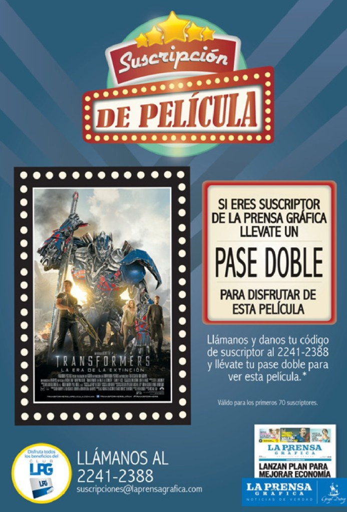 Pase doble para la pelicula TRANSFORMERS - 01jul14