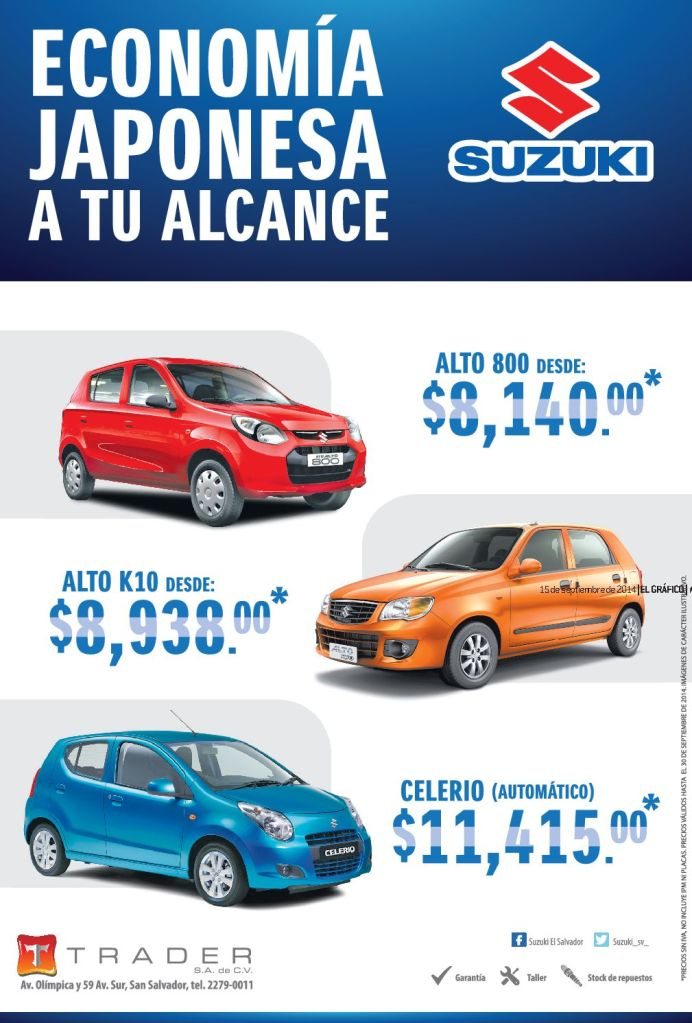 SUZUKI motors savings and promotions CELERIO automatic trader solutions - 15sep14