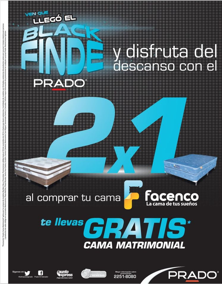 Camas 2x1 en PRADO black promotions - 28nov14