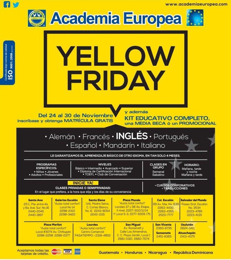 YELLOW FRIDAY discounts academia europea - 18nov14