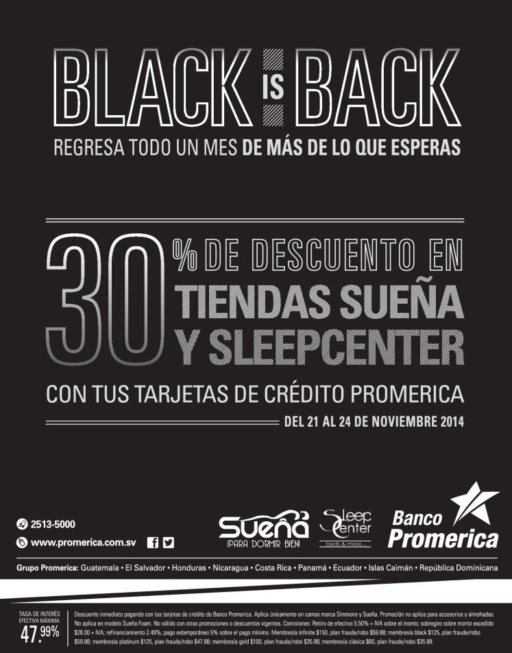 compra tu cama con 30 oFF con banco promerica BLACK friday