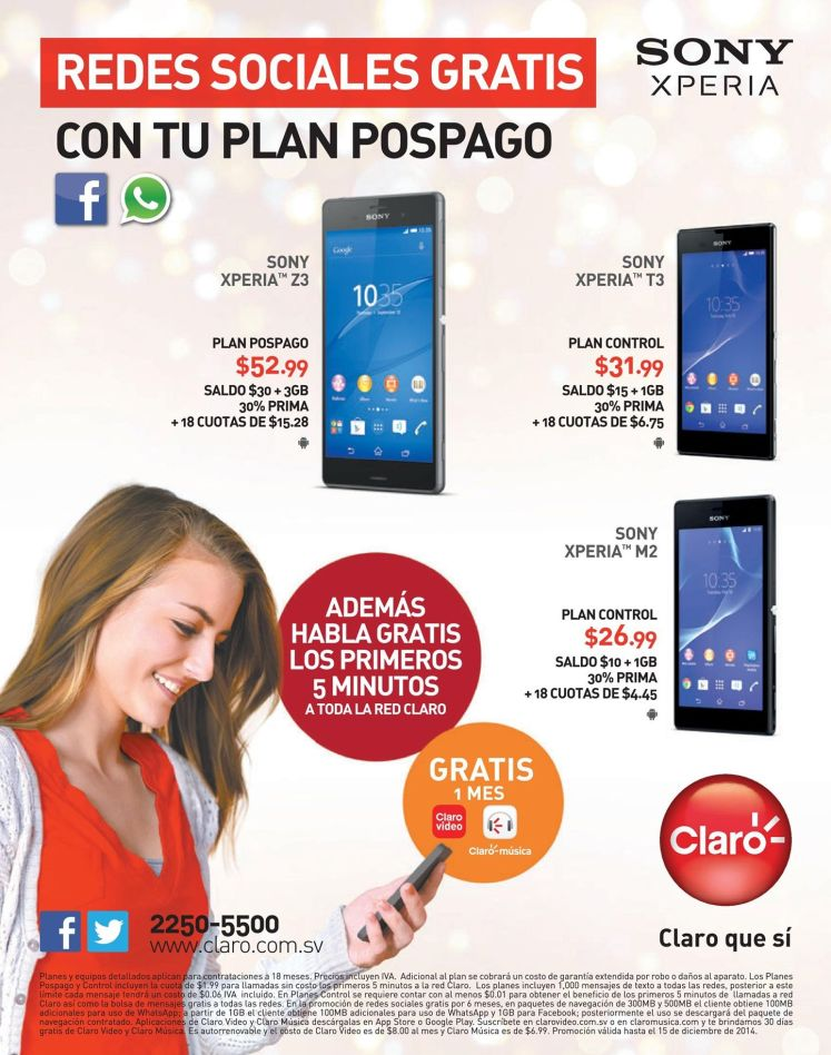SONY XPERIA smartphone series CLARO - 05dic14
