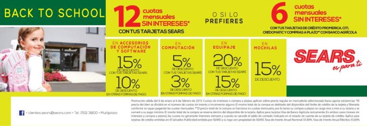 Descuentos SEARS BACK to school - 05ene15