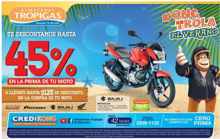 Descuento hasta 45 OFF en motos Almacenes Tropigas - 14mar15