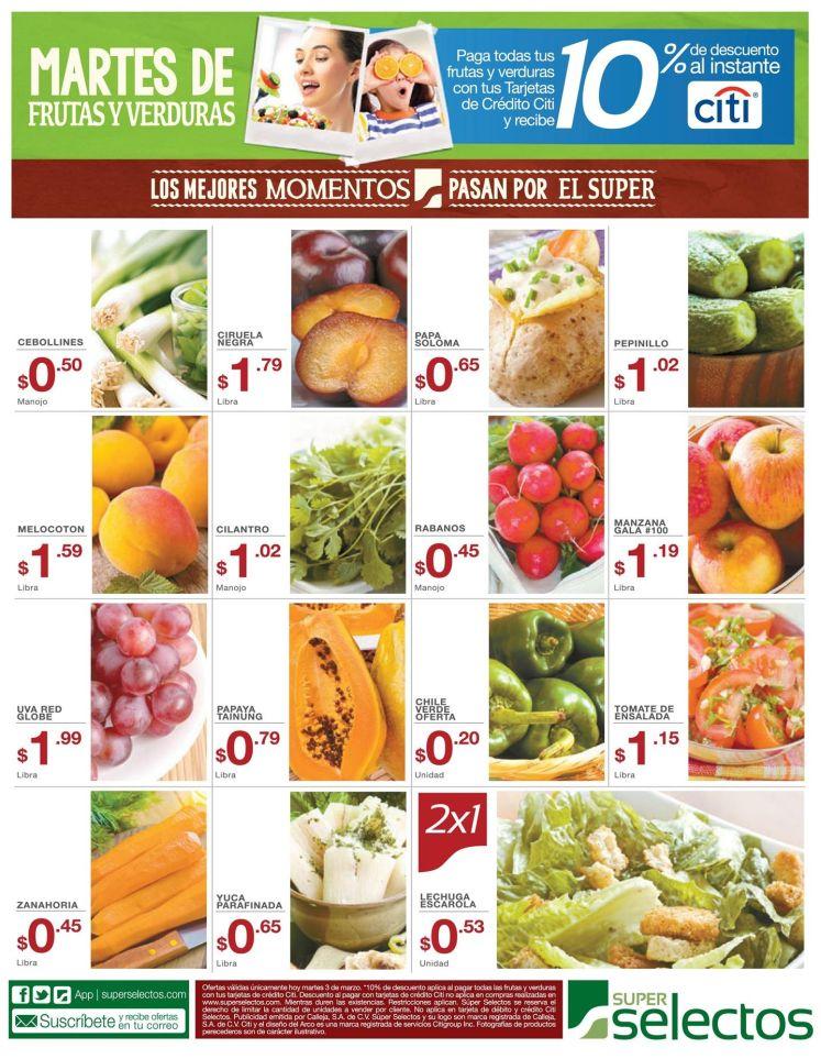 SUPER SELECTOS promociones Martes de fruta y veduras - 03mar15