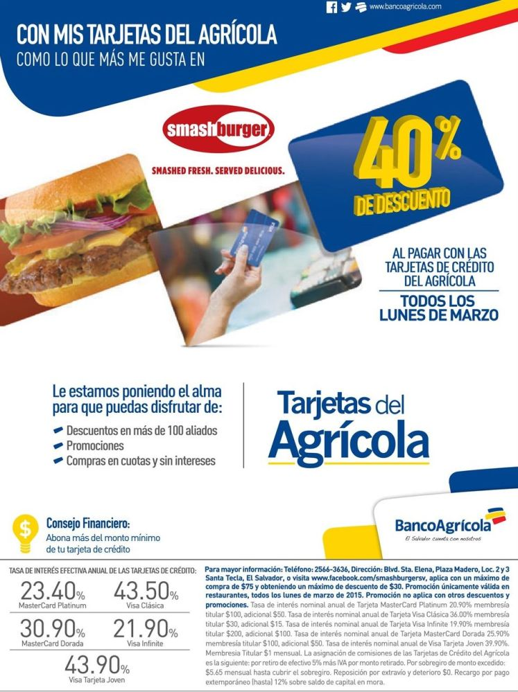 Smash BURGER con 40 OFF con tarjetas del banco agricola - 16mar15