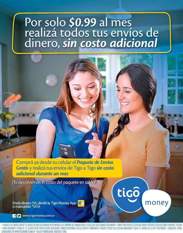TIGO money envia dinero sin costo por solo 99 centavos al mes