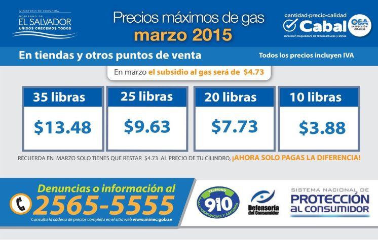 conoce los Precios maximos del gas MARZO 2015